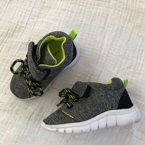 Baby Boy Sneakers- Gray Black and Neon Green Sz 3